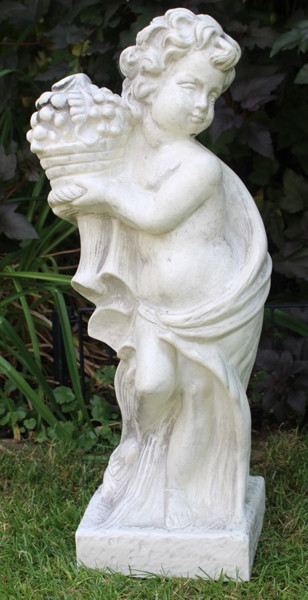 Deko Figur Statue Vierjahreszeiten Putte Herbst H 71 cm klassische Gartenskulptur Dekofigur