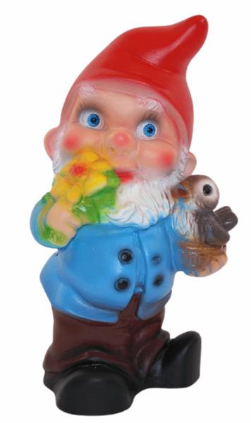 Deko Figur Zwerg H 19 cm Gartenzwerg mit Vogel stehend Gartenfigur aus Kunststoff