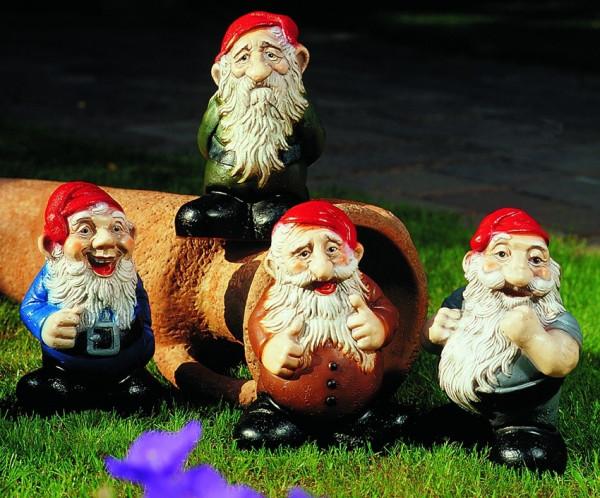 Deko Figuren Zwerge H 20 cm sortiert 4-er Set Gartenzwerge Gartenfiguren aus Kunststoff
