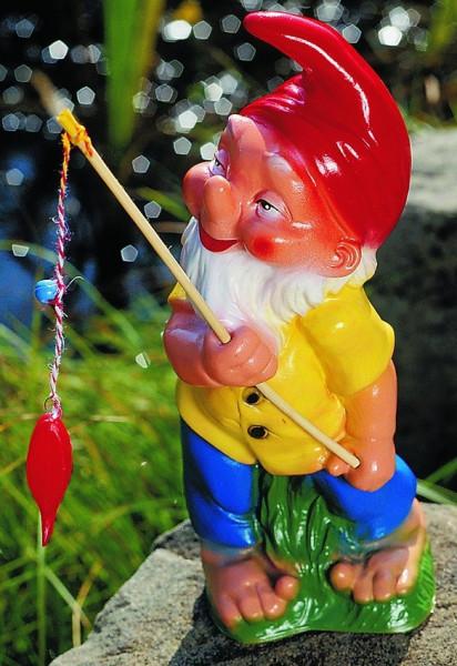 Gartenzwerg als Angler Figur Zwerg H 33 cm Gartenzwerg Gartenfigur aus Kunststoff