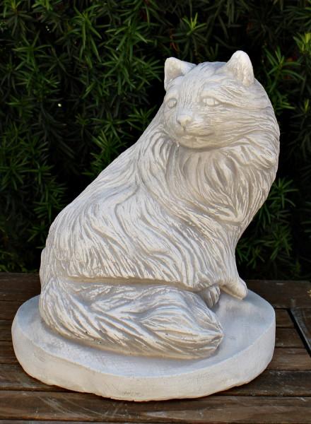 Deko Figur Tierfigur Katze sitzend H 27 cm Katzenfigur Gartenfigur aus Beton