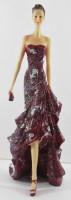 Beauty Figur Deko Modefigur Modepuppe Nostalgiefigur Dame rotes Kleid schulterfrei aus Resin H 35 cm