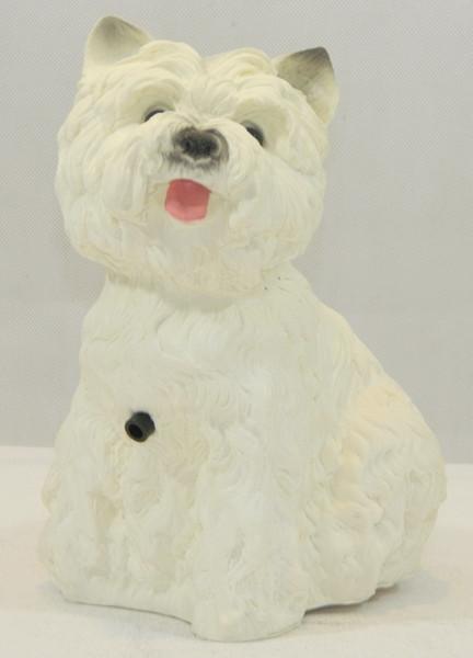 Deko Figur Hund West White Terrier Tierfigur H 22 cm Dekofigur mit Scherzbewegungsmelder Wau-wau