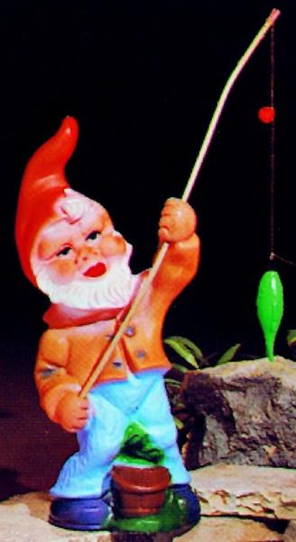 Gartenzwerg als Angler Figur Zwerg H 31 cm Gartenzwerg Gartenfigur aus Kunststoff