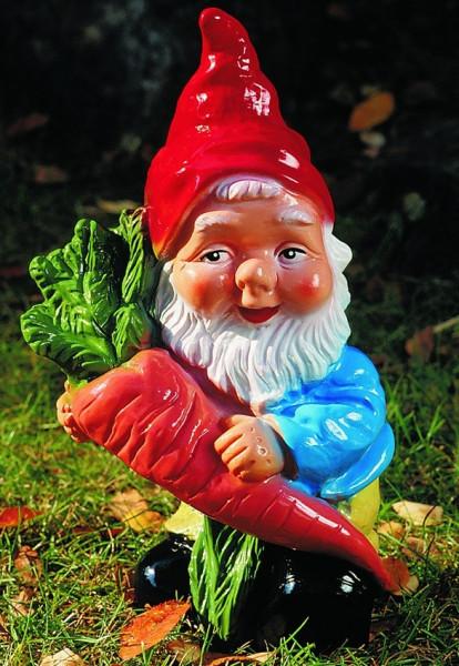 Gartenzwerg mit Rübe Figur Zwerg H 35 cm Gartenfigur aus Kunststoff