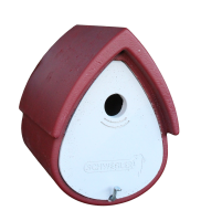 Naturschutzprodukt Nistkasten Vogelnisthöhle Meisenresidenz Typ 1MR Flugloch 32 mm rot-grau