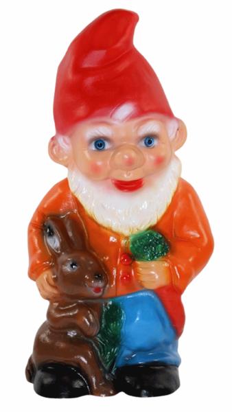 Deko Figur Zwerg H 28 cm Gartenzwerg stehend mit Hase und Rübe Gartenfigur aus Kunststoff