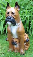 Deko Garten Figur Dekofigur Gartenfigur Tierfigur Hund Boxer mit drei Welpen aus Kunststoff H 59 cm