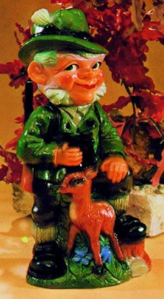 Gartenzwerg Förster mit Reh Figur Zwerg H 32 cm Gartenfigur aus Kunststoff