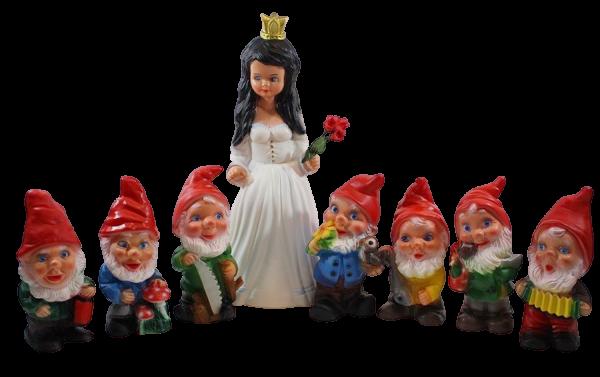 Deko Figur Schneewittchen H 40 cm und 7 Zwerge H 19-20 cm Gartenfiguren stehend als Satz