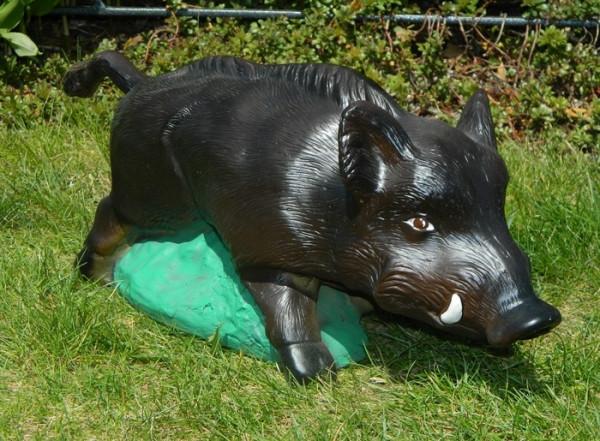 Dekorationsfigur Wildschwein Frischling H 20 cm Gartenfigur aus Kunstharz