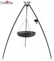 Dreibein mit Kurbel H 200 cm mit Wok Ø 60 cm aus Stahl Dreibeingestell Wok Grill Tripod Grillständer