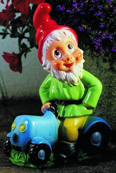 Gartenzwerg auf Traktor Figur Zwerg H 32 cm Gartenfigur aus Kunststoff