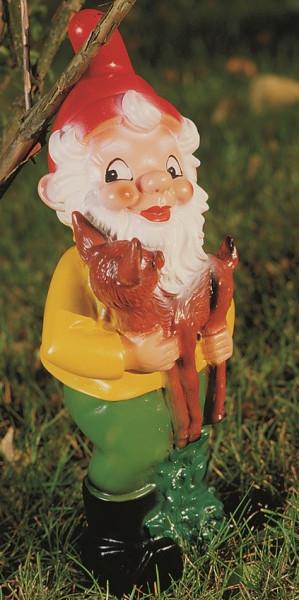Gartenzwerg Rehkitz haltend Figur Zwerg H 34 cm Gartenfigur aus Kunststoff