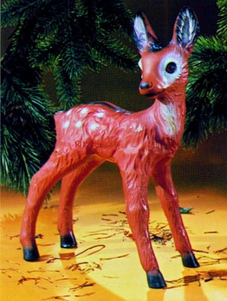 Deko Figur Rehkitz stehend H 42 cm Gartenfigur Dekofigur aus Kunststoff