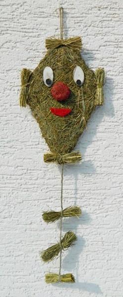 Dekofigur Deko Figur Drachen zum Aufhängen Heufigur mit Holzaugen u. roter Nase L 55 cm