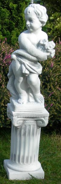 Beton Figuren Statue Putte Vierjahreszeiten Frühling auf ionischer Säule H 84 cm Gartenskulpturen