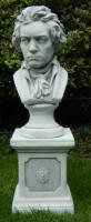 Beton Figuren Statue Büste Komponist Ludwig van Beethoven auf klassischer Säule H 69 cm Dekofiguren