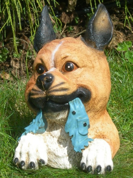 Dekorationsfigur Hundeskopf H 28 cm Gartenfigur aus Kunstharz