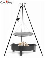 """Set: Dreibein H 180 cm mit Grillrost Ø 50 cm aus Rohstahl und Kurbel + Feuerschale """"Haiti"""" Ø 60 cm"""