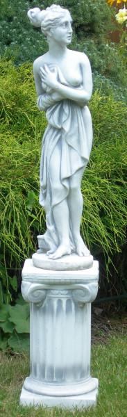 Beton Figur Deko Statue Paolina von Canova auf ionischer Säule H 93 cm Dekofiguren Gartenskulpturen