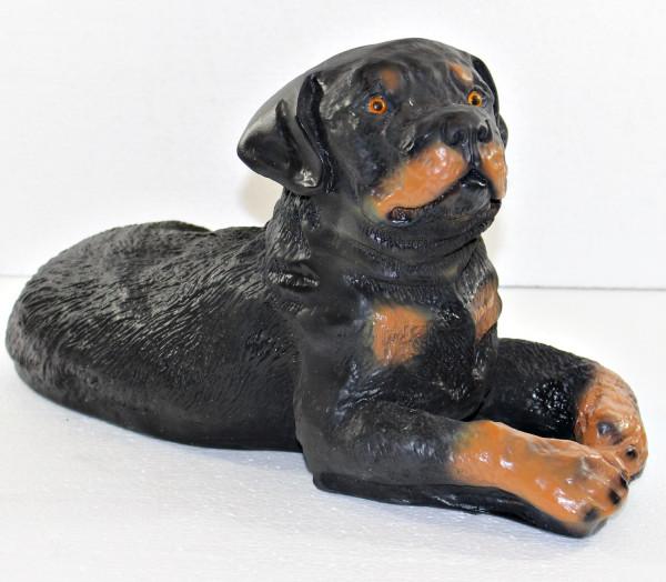 Dekorationsfigur Hund Rottweiler Welpe liegend H 21 cm Hundefigur Deko Gartenfigur aus Kunstharz
