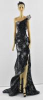 Beauty Figur Deko Modefigur Modepuppe Nostalgiefigur Dame schwarzen Kleid mit silberner Blume