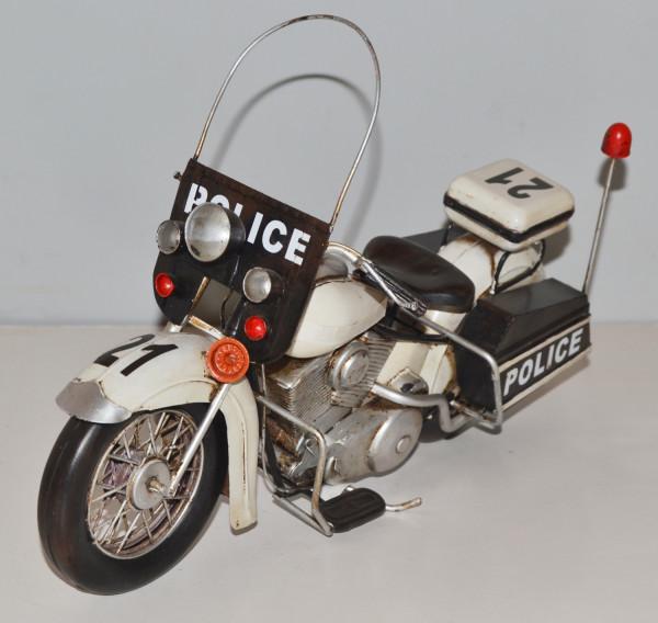 Blechmotorrad Nostalgie Modellauto Oldtimer Marke Harley-Davidson Polizei Motorrad aus Blech L 35 cm