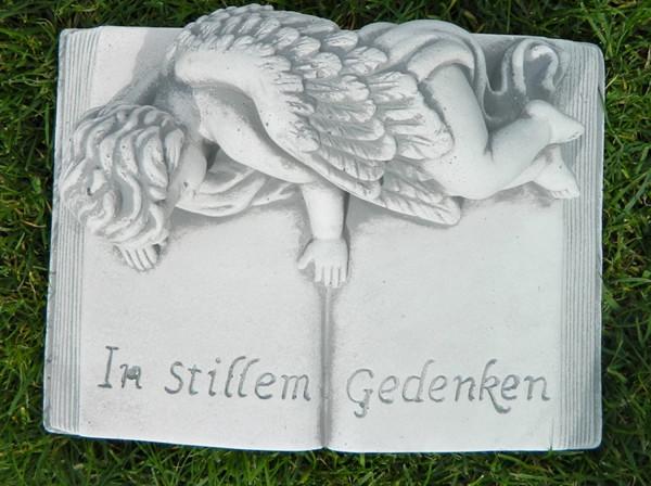 """Beton Figur Buch mit Aufschrift In stillem Gedenken """" Länge 27cm Grabdekoration"""""""