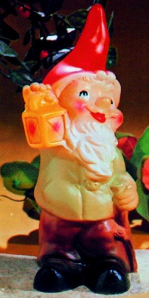 Gartenzwerg mit Laterne Figur Zwerg H 20 cm Gartenfigur aus Kunststoff