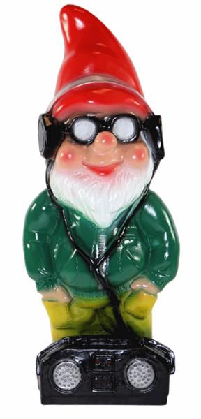 Deko Figur lustiger Zwerg H 33 cm Spaß Gartenzwerg mit Brille und Radio Gartenfigur aus Kunststoff
