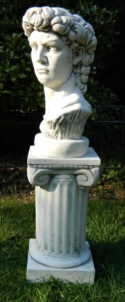 Beton Figuren Staue Büste David von Michelangelo auf ionischer Säule H 68 cm Dekofiguren und Gartens