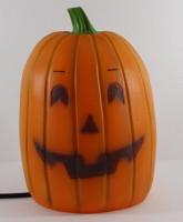 Dekofigur Leuchte Kürbis H 28 cm mit 2 Gesichtern Halloween Figur Beleuchtung Außenbereiche