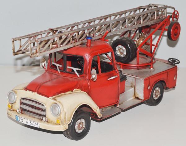 Blechauto Nostalgie Modellauto Oldtimer Automarke Opel Blitz Feuerwehr aus Blech L 34 cm