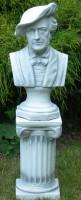 Beton Figuren Skulpturen Büste Komponist Richard Wagner auf ionischer Säule H 77 cm Statuen