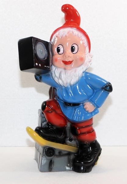 Gartenzwerg mit Radio und Bewegungsmelder Happy Birthday Figur Zwerg H 37 cm aus Kunststoff