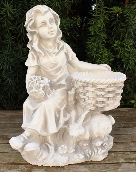 Beton Figur Mädchen mit Topf zum Bepflanzen H 34 cm Ostern Frühling Dekofigur und Gartenskulptur