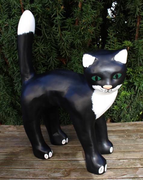 Dekofigur Gartenfigur schwarze Katze Kopf nach rechts H 48 cm Tierfigur Katzenfigur aus Kunstharz