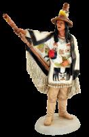 Indianerfigur Indianer Seattle Häuptling Duwamish H 23 cm mit Totem-Stab Castagna Limited Edition