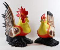 Deko Garten Figur Dekofigur Gartenfigur bunter Hahn und Henne stehend aus Kunststoff als 2-er Satz