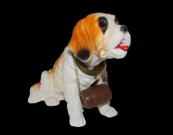 Wackel Figur Hund Bernardiner Wackelfigur H 16 cm mit Faß groß Dekofigur mit Wackelkopf