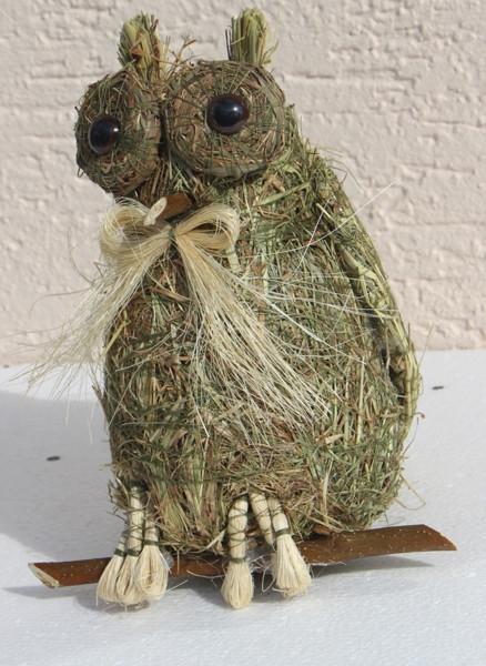 Deko Heu Figur Eule sitzend Heueule Höhe 20 cm Tierfigur aus Naturmaterial Heu zum Basteln Heudeko