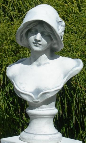 Beton Figur Statue Skulptur Büste Frau mit Hut H 39 cm Dekofigur und Gartenskulptur