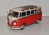 Blechauto Nostalgie Modellauto Oldtimer Automarke VW Bulli Modell T1 Bus rot aus Blech L 32 cm