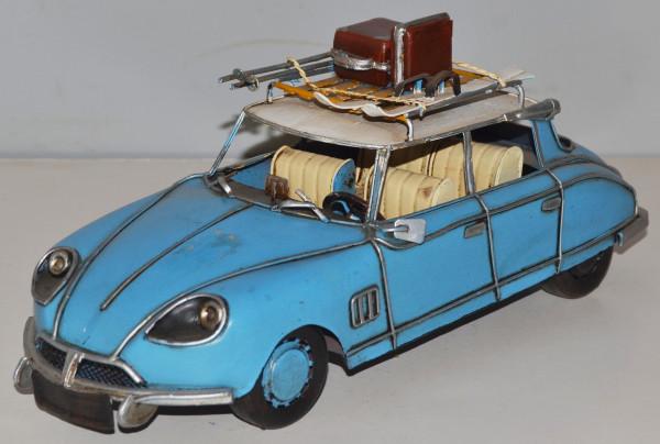 Blechauto Nostalgie Modellauto Oldtimer Citroen DS 19 mit Dachgepäck Winter Urlaub aus Blech L 31 cm