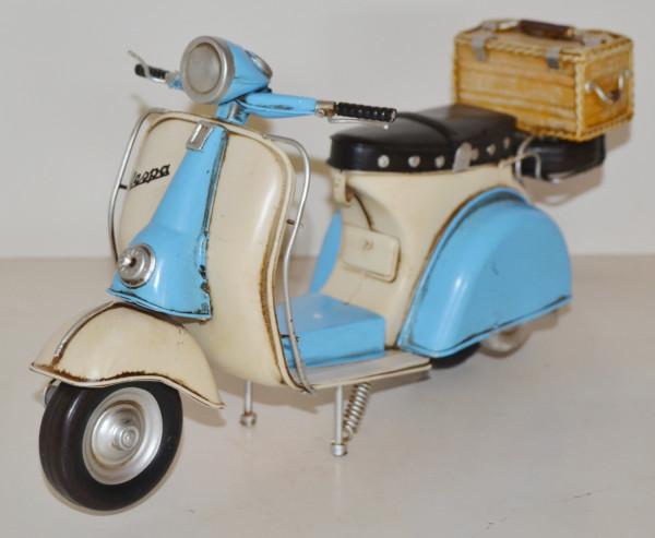 Blechmodell Roller Nostalgie Modellauto Oldtimer Marke Vespa Motorroller Modell aus Blech L 33 cm