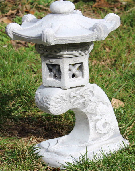 Beton Figur Skulptur japanische Laterne H 31 cm 3-teilig asiatische Steinlaterne Pagode