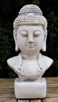 Beton Figur Staute Büste Buddha H 31 cm asiatische Dekofigur und Gartenskulptur