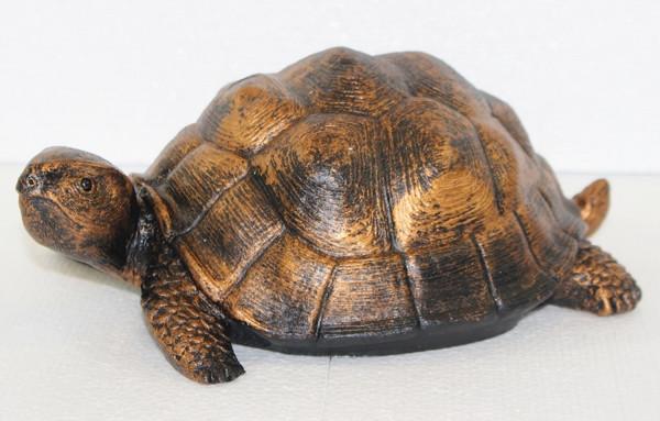 Deko Figur Schildkröte klein Gartenfigur H 10/L 27 cm Dekofigur Kupfer-Antik aus Kunststoff