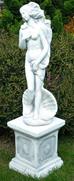 Beton Figuren Statue Venus von Botticelli auf klassischer Säule H 84 cm Dekofiguren Gartenskulpturen